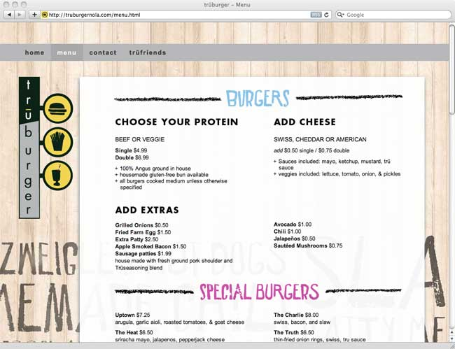 truburger-menu